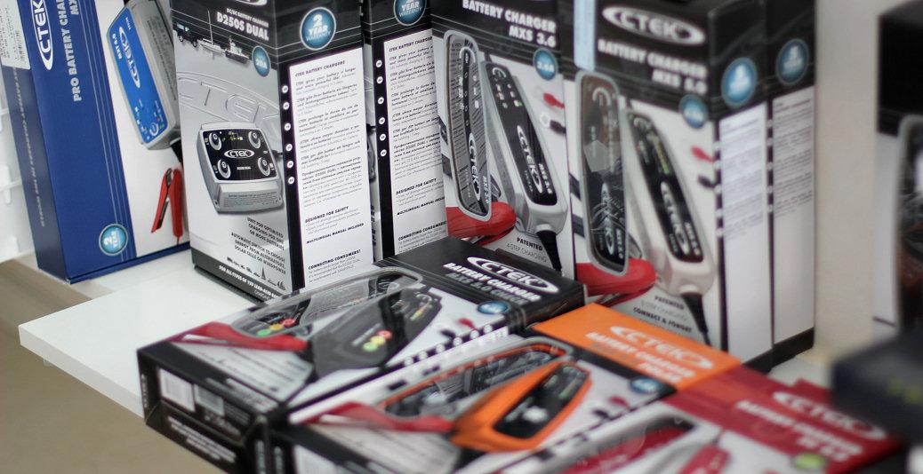 En del av CTEK:s sortiment av bilbatteriladdare